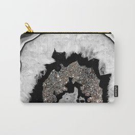 Gray Black White Agate with Silver Glitter #1 #gem #decor #art #society6 Carry-All Pouch