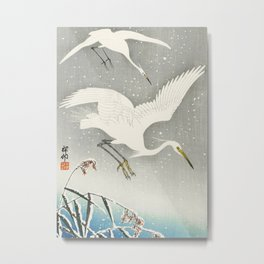 Egrets Descending from the sky - Vintage Japanese Woodblock Print Art Metal Print