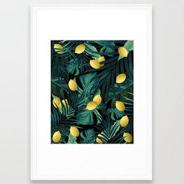 Tropical Lemon Twist Jungle Night #1 #tropical #decor #art #society6 Framed Art Print