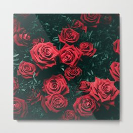 Red Roses in the Dark Metal Print