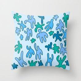 Blue Peepo. Throw Pillow