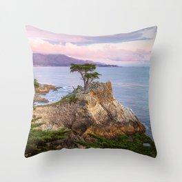 Lone Cypress Spring Sunset Throw Pillow