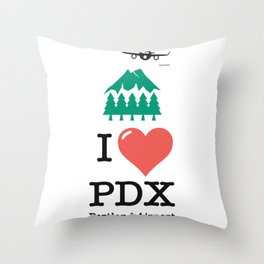 I Love/ like PDX airport Portland Throw Pillow