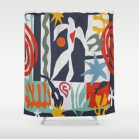 matisse Shower Curtains featuring Inspired to Matisse by Chicca Besso