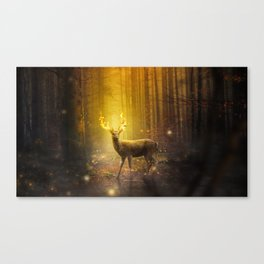 Spectacular Graceful Flaming Animal Horns In Timberland Fairytale UHD Canvas Print