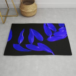 Black Light & Blue Leaves Rug