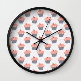 Fluffy Pink Cupcake Pattern Wall Clock