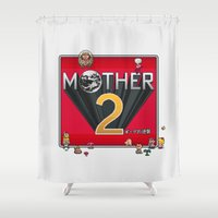 earthbound Shower Curtains featuring Alternative Mother 2 / Earthbound Title Screen by Studio Momo╰༼ ಠ益ಠ ༽