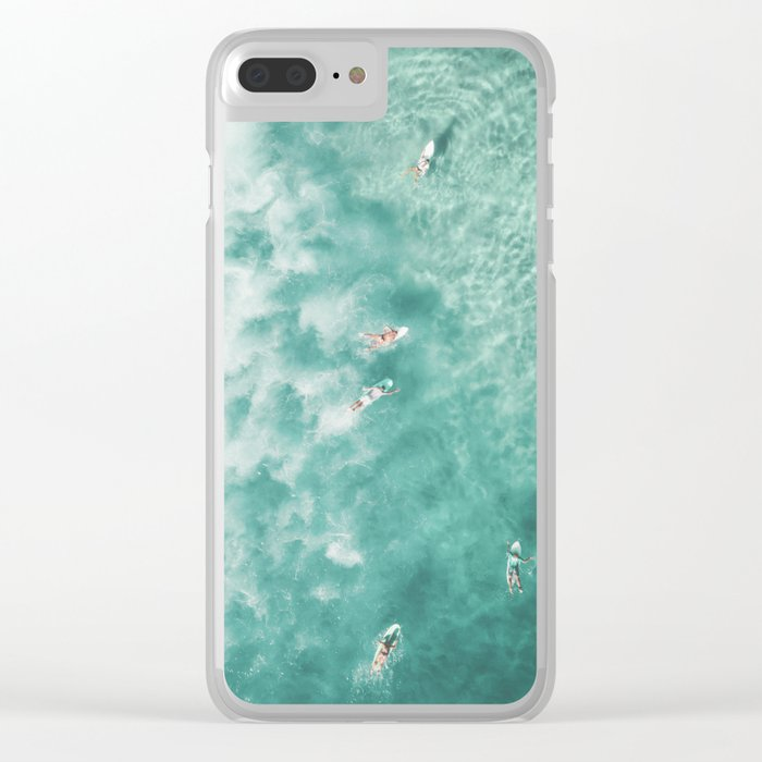 Surfing in the Ocean Clear iPhone Case