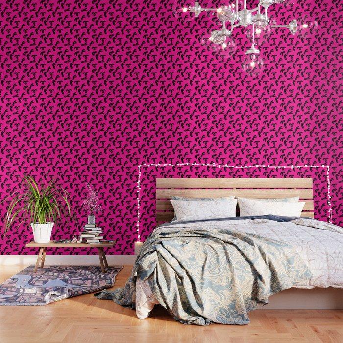 Flop Bunny Pattern Black Pink Wallpaper By Yolkratio Society6