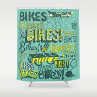 bikes Shower Curtains featuring Bikes! by Matthew Fleming
