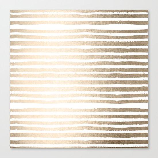 White Gold Sands Shibori Stripes Canvas Print