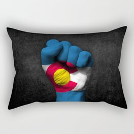 Colorado Flag on a Raised Clenched Fist Rectangular Pillow