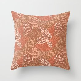 Brush Strokes Abstract Pattern, Brick with Coral and Tan Throw Pillow