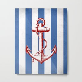 Nautical Anchor, Nautical Art Print, Blue and White Stripes, Nautical Print, Anchor, Nautical Art, Nautical, Ocean, Sea, Sailing Art Print, Nautical Decor, Anchor Poster, Kids Room, Nursery, Playroom, Children's Art Print Metal Print