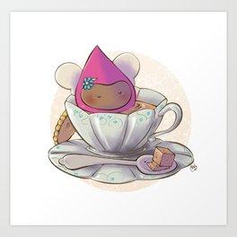 Poppette at tea time Art Print