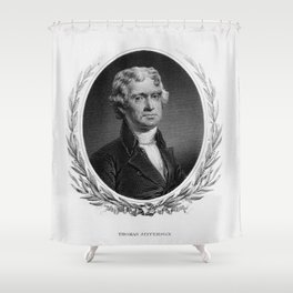 Engraving and anonymous portrait of Thomas Jefferson. Shower Curtain