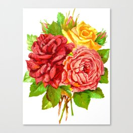 Rose Flower Bouquet Canvas Print