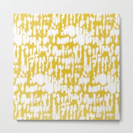 Inky Inverse Yellow Metal Print