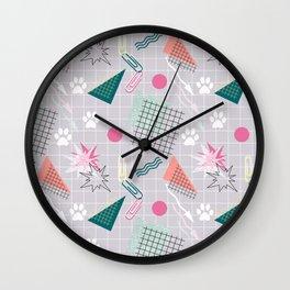 Memphis.Colorful retro pattern.2 Wall Clock