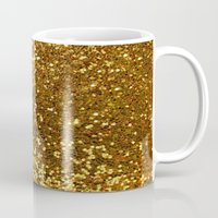 gold glitter Mugs featuring GOLD GLITTER by I Love Decor
