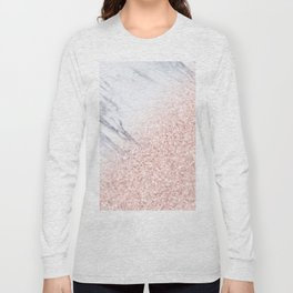 She Sparkles Rose Gold Pink Marble Luxe Geometric Long Sleeve T-shirt