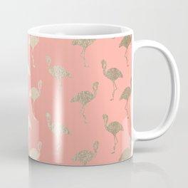 Gold Flamingo Pattern Coral Pink Coffee Mug