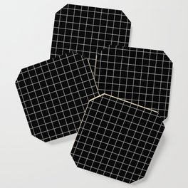Grid Simple Line Black Minimalist Coaster