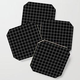 Grid Pattern Line Stripe Black and White Minimalist Geometric Stripes Lines Coaster