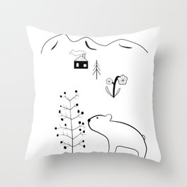 Bear and Berry Tree in the Forest with Mountains – Nordic Style Illustration Throw Pillow