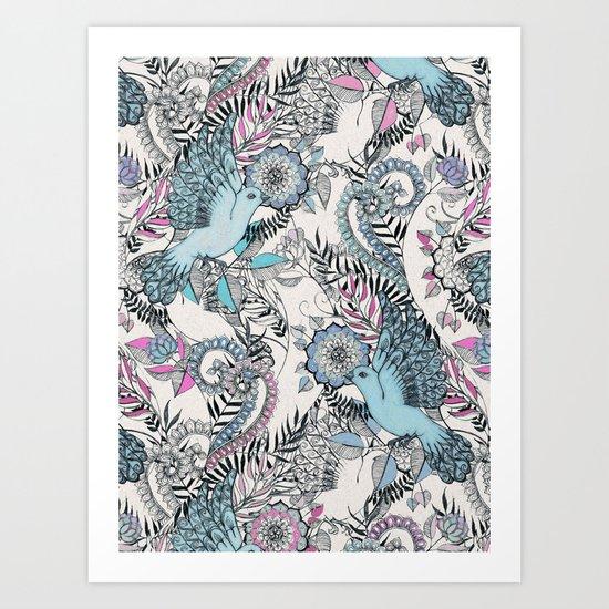 Flight of Fancy - pink, teal, cream Art Print