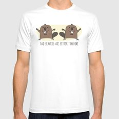 Two Beavers Are Better Than One MEDIUM Mens Fitted Tee White