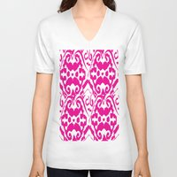 ikat V-neck T-shirts featuring Ikat Pink by Leap of Faith Clothing