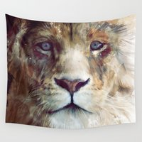 kim sy ok Wall Tapestries featuring Lion // Majesty by Amy Hamilton