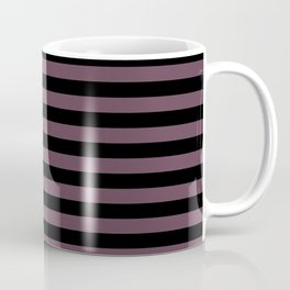 Eggplant Violet and Black Horizontal Stripes Coffee Mug
