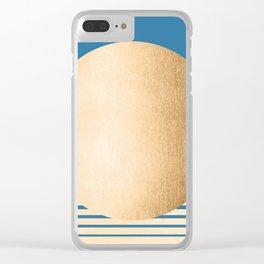 Sun Gradient - Orange Sherbet Shimmer on Saltwater Taffy Teal Clear iPhone Case