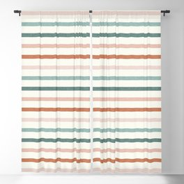 sunset stripes in terra cotta and jade Blackout Curtain