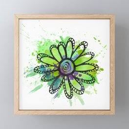 GC031-5 Colorful watercolor doodle flower green and purple Framed Mini Art Print
