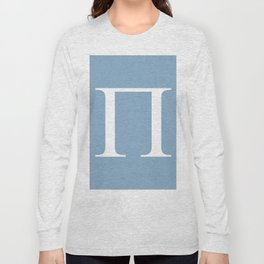 Greek letter Pi sign on placid blue background Long Sleeve T-shirt