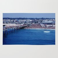 1984 Area & Throw Rugs featuring O.P. Pro Surfing Contest H.B. Pier 1984 by John Lyman Photos