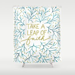 Leap of faith - blue gold Shower Curtain