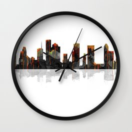 Houston Texas Skyline BW1 Wall Clock