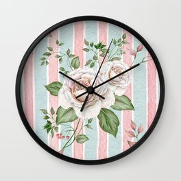 Pastel pink and blue watercolor striped pattern with roses and foliage Wall Clock