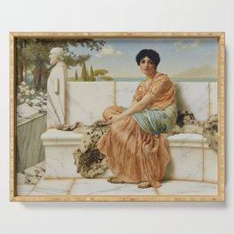 In the Days of Sappho by John William Godward (1904) Serving Tray