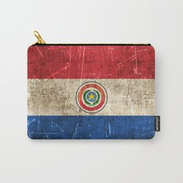 Vintage Aged and Scratched Paraguay Flag Carry-All Pouch