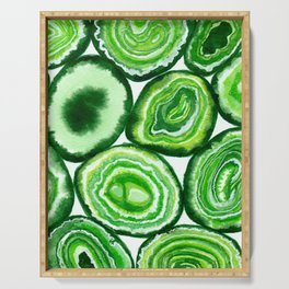 Green agate pattern watercolor Serving Tray