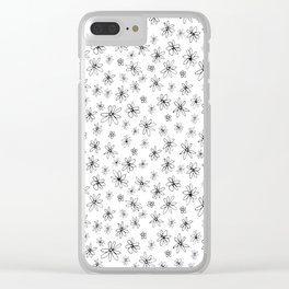 Loopy Flowers - Black on White Clear iPhone Case