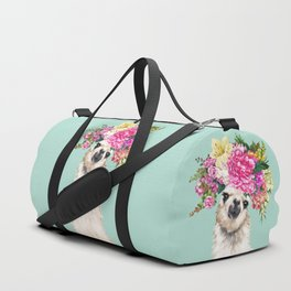Flower Crown Llama in Green Duffle Bag