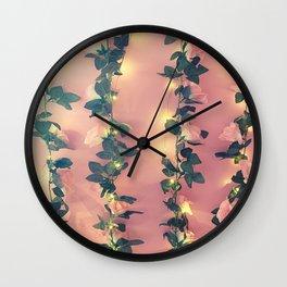 Pink Roses Vintage Floral Pattern Print Wall Clock