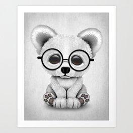 Cute Polar Bear Cub with Eye Glasses Art Print